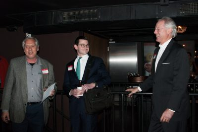 (L to R) ARiES Energy President Harvey Abouelata speaking with Daniel Green and Jerry Askew.